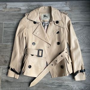 Burberry authentic nude leather trench coat jacket